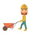 Gardener pushing a wheelbarrow vector image vector image