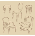 Set of sketched armchairs and chairs vector image vector image