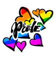 gay pride rainbow colored hearts pattern vector image
