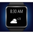 Smart clock that shows the weather vector image