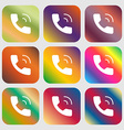 Phone icon sign Nine buttons with bright gradients vector image