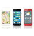 mobile phones with widgets and icons vector image