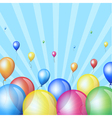 Holiday stripes background with balloons vector image