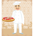 funny chef serves pizza in a restaurant vector image vector image