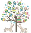 Stylized tree with rabbits isolated on white vector image vector image