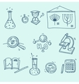 Science icons set school laboratory chemistry vector image