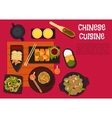 Spicy dinner with north chinese cuisine dishes vector image