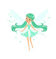 Beautiful smiling turquoise fairy girl flying vector image