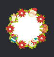 christmas wreath with snowman christmas wreath vector image