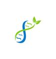 DNA logo medic with leaf logo vector image
