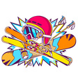 helmet snowboard and skis on a backgroun vector image