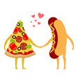 Pizza and hot dog love Piece of pizza and sausage vector image