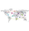 world travel with map and air planes vector image