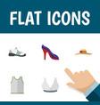 flat icon dress set of brasserie elegant headgear vector image