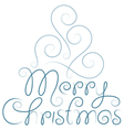 merry christmas hand lettering and tree vector image vector image
