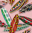 Ikat feather pattern vector image
