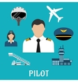 Pilot profession and aircraft icons vector image