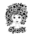 Female face with floral hairstyle for your design vector image