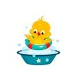Cute Duckling in Bathroom vector image