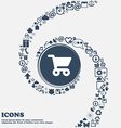 shopping basket icon sign in the center Around the vector image