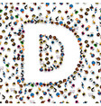 a group of people in of english alphabet letter d vector image