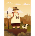 a traveler with a dog in the mountains hiking vector image