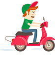 Funny hipster character riding red scooter vector image