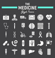 medicine glyph icon set medical signs collection vector image