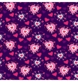 Seamless Violet cartoon pattern with cartoon heart vector image
