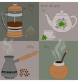 Set of tea and coffee green and herbal tea black vector image