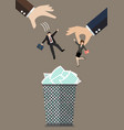 Hands throw a business man and woman in the trash vector image