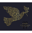 Gold Christmas and new year ornamental dove bird vector image