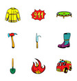 fire equipment icons set cartoon style vector image