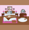 bedroom for girl in pink colors flat vector image