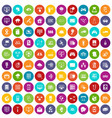 100 network icons set color vector image vector image
