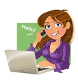 Brown-haired woman with phone and laptop vector image vector image