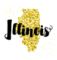 Golden glitter of the state of Illinois vector image