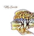Woman head silhouette with tree vector image