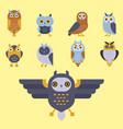 cartoon owl bird cute character symbol sleep sweet vector image