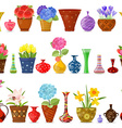 Collection isolated seamless borders with flowers vector image