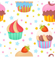 Cute colorful seamless pattern with muffins vector image