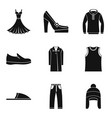 new fashion clothing icon set simple style vector image