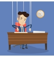Businessman marionette on ropes working vector image