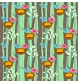 Seamless pattern with spring trees and birds vector image