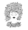 Female face with floral hairstyle for your design vector image vector image