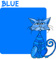 Color Blue and Cat Cartoon vector image vector image