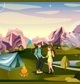 hiking man and woman tent mountain vector image