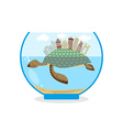 Mini city on shell of turtle Micro ecosystem in an vector image