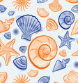 Seashell summer seamless pattern vector image