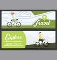 set of banners with young people vector image
